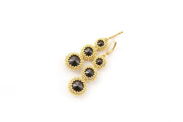 misternie wyplecione kryształki, kolczyki złote, do wieczorowej sukni, prezent dla kobiety