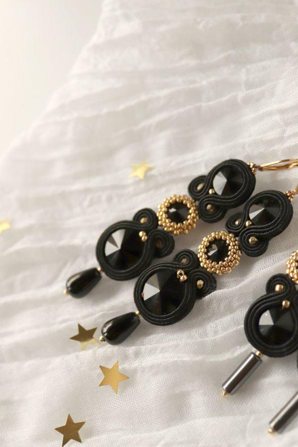 czarne kolczyki z kroplą, kolczyki z wisiorkiem z kryształkami