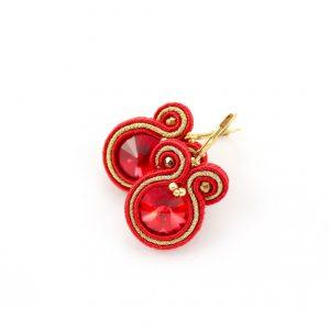 Czerwone krótkie kolczyki ze złotym pasmem, elegancka biżuteria w prezencie dla Pań