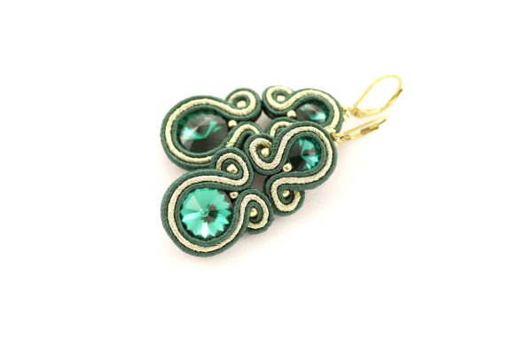 zielone eleganckie kolczyki, długie i wiszące kolczyki z kamieniami, emerald kolczyki