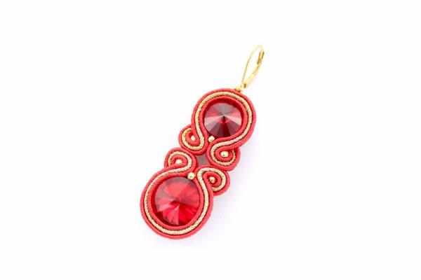 sutasz kolczyki, czerwona biżuteria do wieczorowej sukni, kolczyki do tuniki, prezent dla kobiety