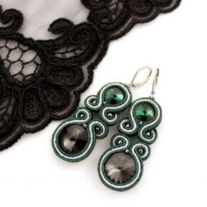 kolczyki zielono stalowe, kolczyki błyszczące, prezent dla niej, idealny prezent