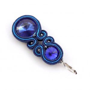 niebieskie kolczyki haftowane, kolczyki na wieczór do sukienki, prezent dla kobiety