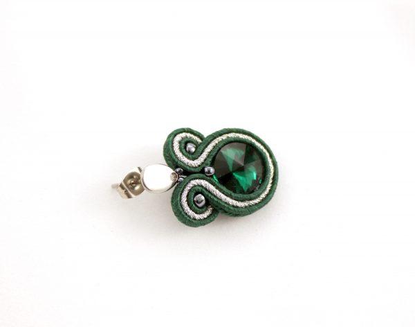 Kolczyki butelkowa zieleń, wiszące kolczyki z łezką, elegancka biżuteria