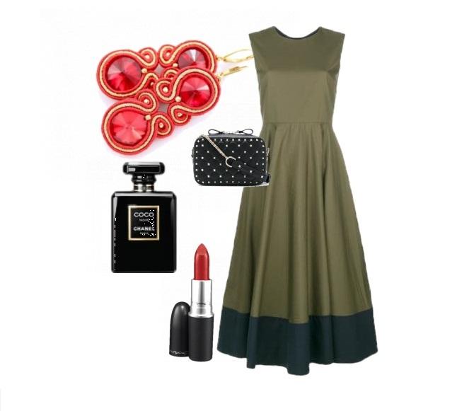 Oryginalna sukienka khaki