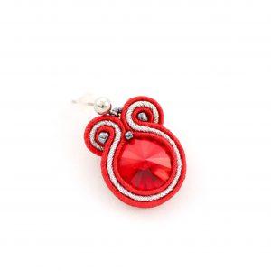 Wiśniowe kolczyki, dojrzała czerwień, kolczyki wiszące, z kryształkiem