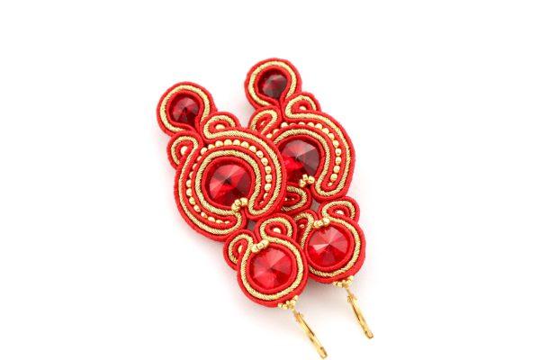 długie czerwone kolczyki haftowane ręcznie, kolczyki bogate na wielkie wyjście
