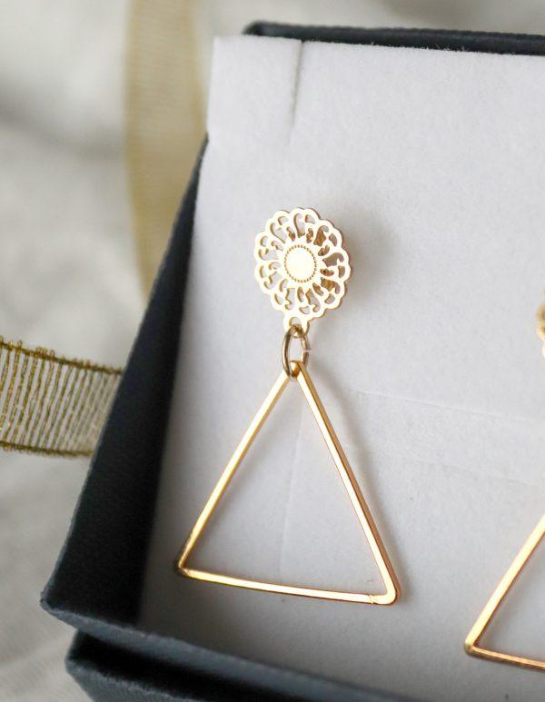 długie kolczyki z trójkątem i ażurem, kolczyki wiszące