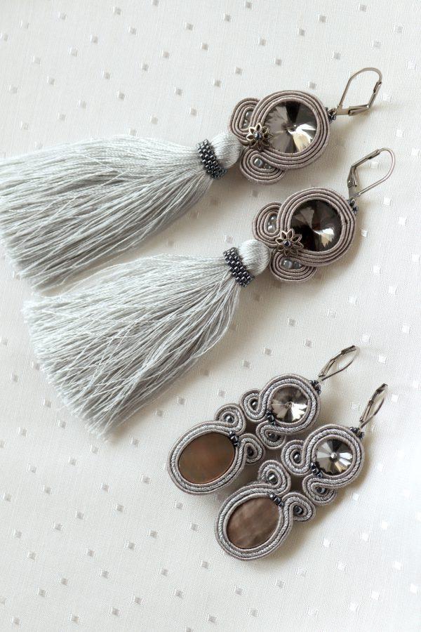 kolczyki z chwostem i z kryształkami, frędzle w kolczykach