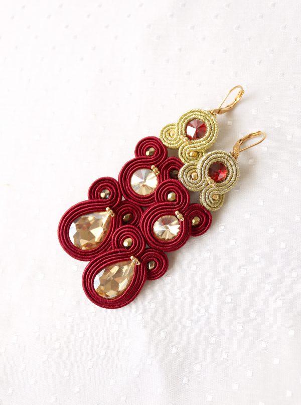kolczyki ze złotą kroplą, burgund i złoto biżuteria, wytworne akcesoria,