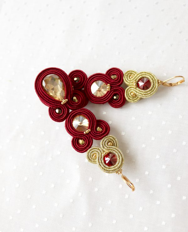 wieczorowe, eleganckie kolczyki sutasz, biżuteria na wieczór, kolczyki z kroplą z kryształkiem