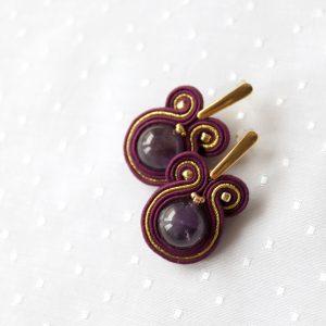 fioletowe kolczyki z okrągłym ametystem