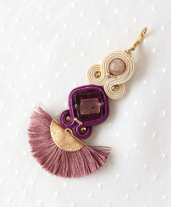 fioletowe kolczyki ze szkłem weneckim