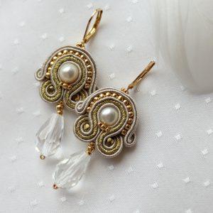 ślubne kolczyki z perłą i kroplą odcienie beżu
