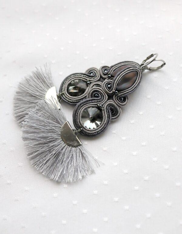wachlarze kolczyki szare z kryształkami i masą perłową (3)