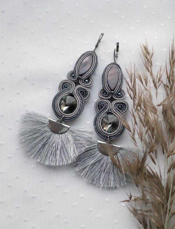 wachlarze kolczyki szare z kryształkami i masą perłową (5)
